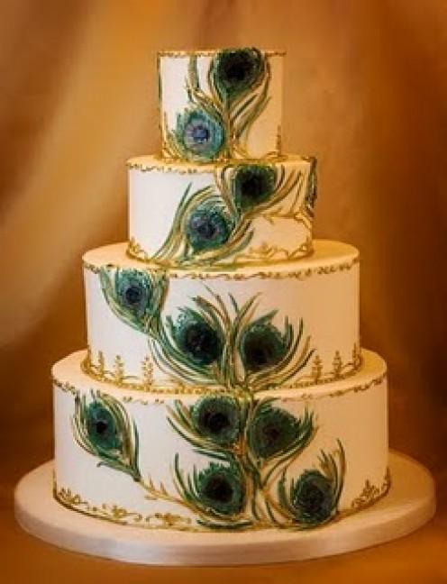 Peacock Wedding Cake 4 Tier
