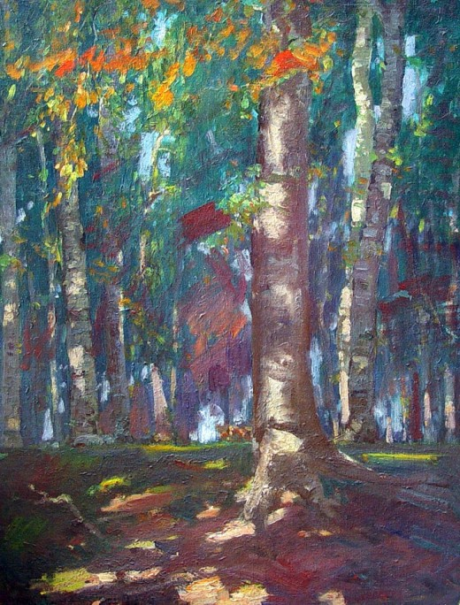 """Beech Grove"" - by Paul Turner Sargent - (1880-1946)"