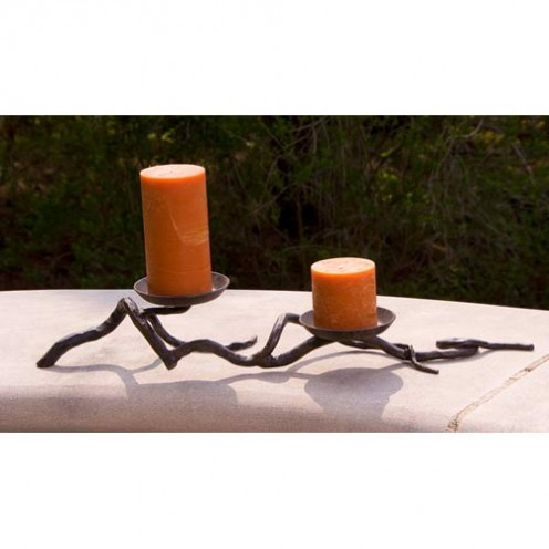 Wrought Iron Double Branch Candleholder