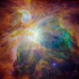This is an overview of the Orion Nebula. You can see it for yourself with good binoculars. Just look toward the stars that make up the knife in the constellation.
