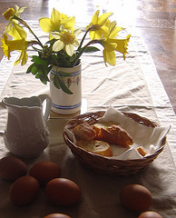 Eggs, bread and milk for the basic French Toast