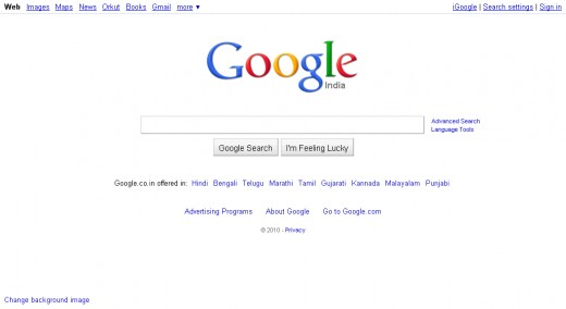 Homepage of Google India Search Engine.