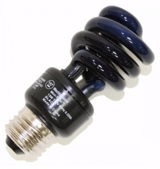 A compact fluorescent black light, just one of the billions of uses of CFLs.