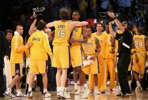 Team effort and never giving up won the day and the 2010 NBA Championship Trophy for the Lakers.  Yahoo Sports