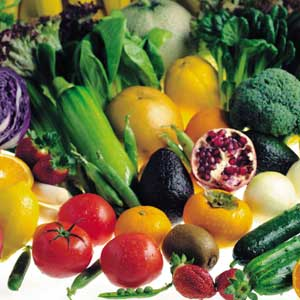 An ARRAY of FRUITS & VEGETABLES (Photo courtesy of http://psychicdiet.com/)