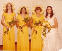 Lynda on her wedding day, 1978. I'm on the far left.