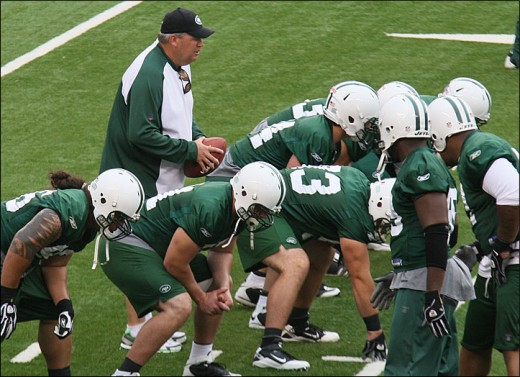 Rex Ryan Lines Up at mini camp June 16 2010 at the Meadowlands