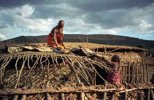 Maasai Culture - putting up a shelter is the responsibility of the woman. Men have other major duties to attend to.