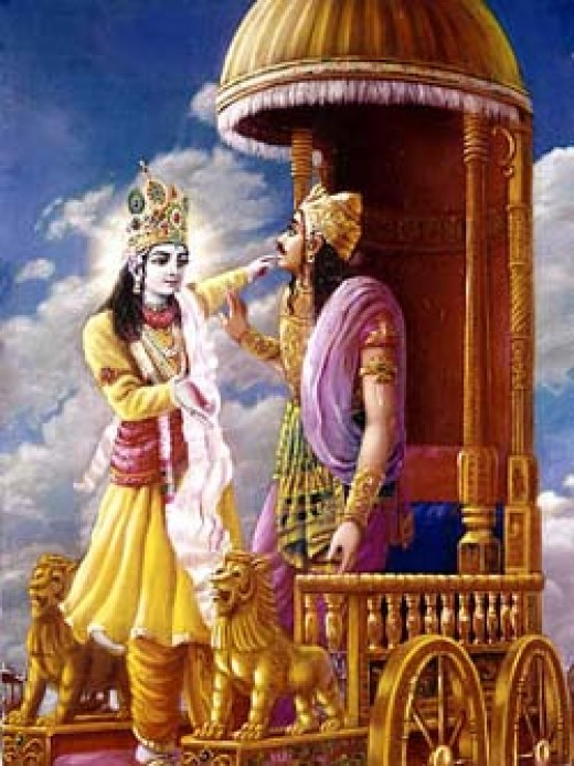 Krishna preaching Bhagvad Gita to Arjuna in the Mahabharata Battle