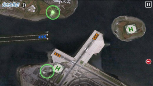 Flight Director screenshot, note the two helis (green circles) heading to the helipads, and that runway in the middle of the ocean to the left.