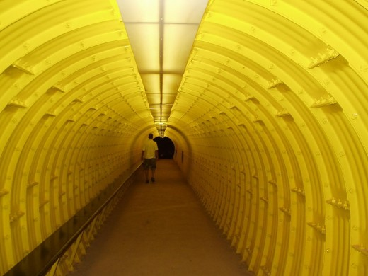 This is the long yellow tunnel you will walk down to get to the cave. It's about 100 feet long and has about a 10 degree slant.