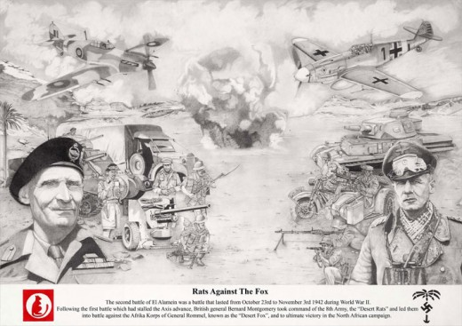 El Alamein inspired piece of artwork depicting the Allied troops against the German Afrika Corps by Dave Harris Art.