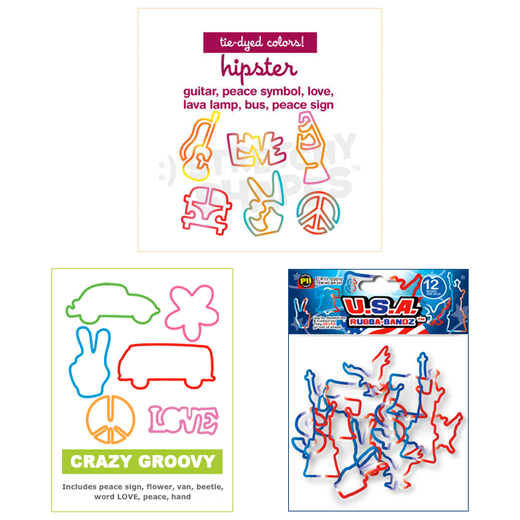 Stretchy Shapes: Hipster,  Crazy  Bands: Crazy Groovy, and  Rubba-Bandz: U.S.A.