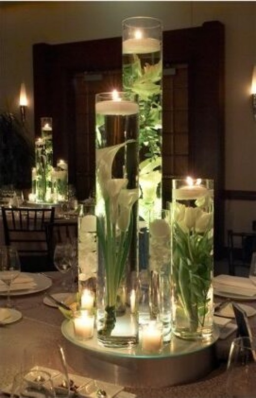 Elaborate wedding room Unique celinder centerpieces