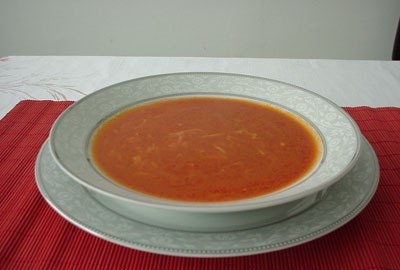 Tomatoes and chicken broth are the base for this soup