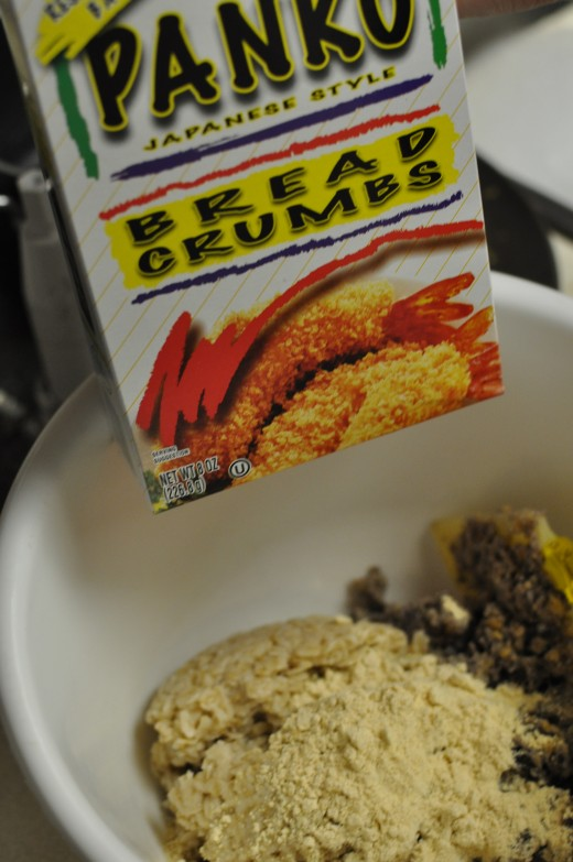 Add Panko bread crumbs. Personal photo.