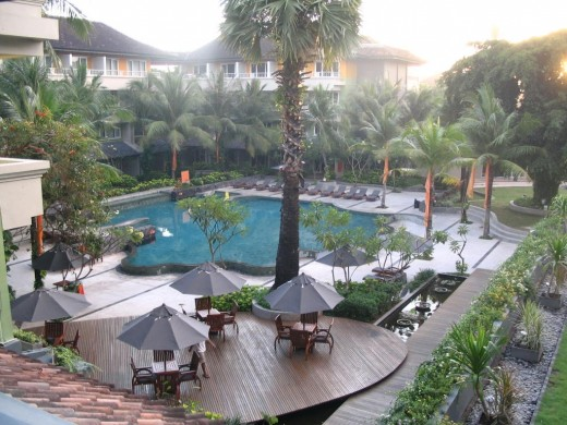 Various nice places to stay along Kuta beach.