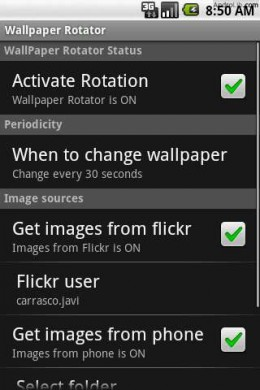 Wallpaper Rotator config screen (from Androlib)