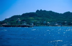 Chinen village harbor from the ferry to Kudaka-jima.