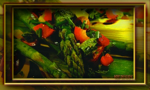 Rich flavor and deeply bright colors abound in this vegetarian grilled leeks and asparagus recipe.