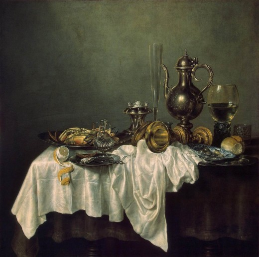 Beautiful painting of breakfast with crab with decorative vessels and white linen table cloth