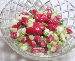 Kidney beans, celery, onion, sweet pickles, and a dab of mayonaise. Refreshing! Photo by Sally's Trove.