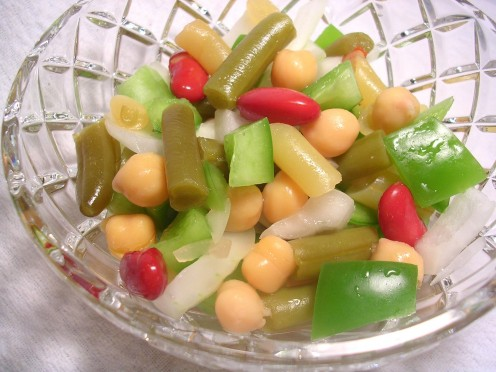 Cousin Ann's three bean salad with chick peas and fresh onion and green bell pepper. Photo by Sally's Trove.