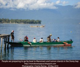 Going to tropical island of Mansinam in Manokwari city of West Papua province of Indonesia