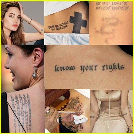 Angelina Jolie has some of the world's most famous tattoos.