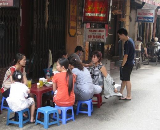 Vietnamese Food street side - Old Quarter Hanoi