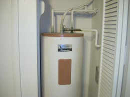 """The way that water gets hot in your electric water heater is with something called a """" heating element"""". Most water heaters will have two electric heating"""