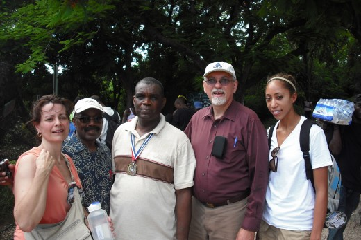 The team with Pastor Saint Cyr at the JP Camp