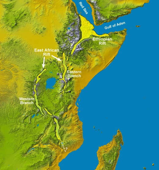 This is an overview of the region in east Africa that is undergoing rapid earth changes.