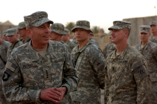 General David Petraeus, Multi-National Force - Iraq commander, visits with Soldiers of the 4th Brigade Combat Team, 3rd Infantry Division at FOB Kalsu July 6. Petraeus gave coins to 4th BCT Soldiers as thanks for their service in support of Operation