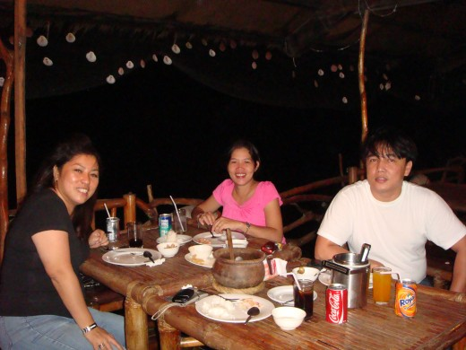 Having dinner at the floating restaurant