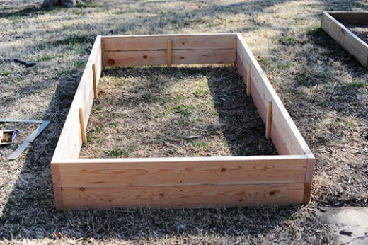 completed wooden raised bed garden