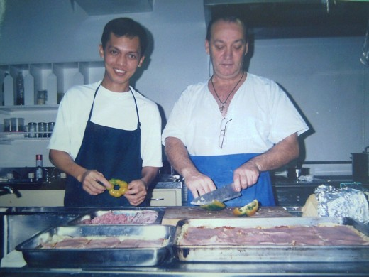 COOKING GREEK PIZZA WITH GREEK COOK & ME (TRAVEL MAN) (PHOTO TAKEN ONBOARD MT AZTEC, 2001)