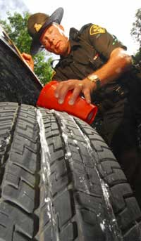 water gets in the deep tread of the tire leaving more surface area against the road to prevent hydroplaning