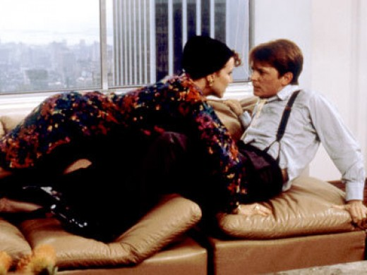 "Margaret Whitton and Michael J. Fox in ""The Secret of My Success"""
