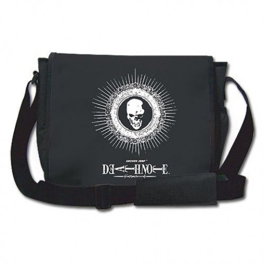 DEATH NOTE LOGO & SKULL EMBROIDERED MESSENGER BAG - available at Amazon (see below)