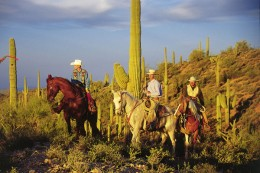 Riders on the hilly terrain outside of Wickenburg, Arizona