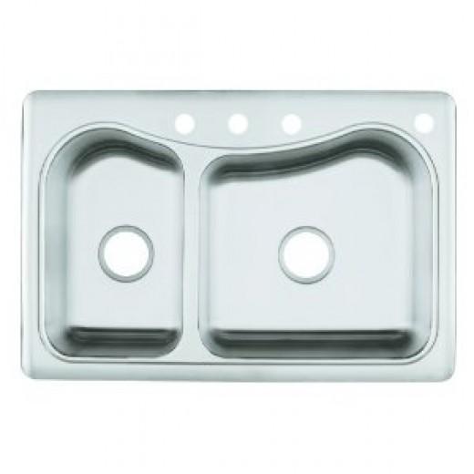 KOHLER K-3361-4-NA Staccato Large/Medium Self-Rimming Kitchen Sink