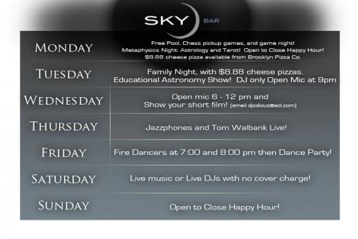 Sky Bar Schedule