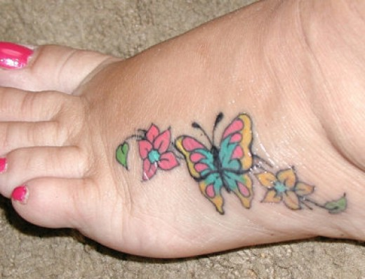 Butterfly Foot Tattoo