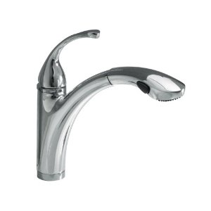 KOHLER K-10433-CP Forte Single Control Pullout Kitchen Sink Faucet with Color-Matched Sprayhead and Lever Handle, Polished Chrome
