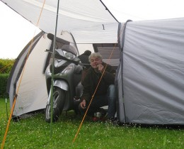 Enough room in this 2 man tent for two campers and a motorcycle.