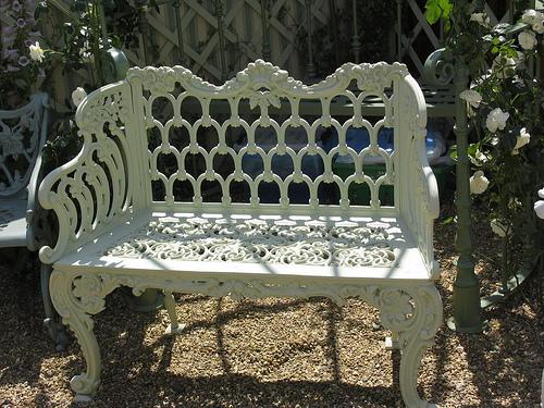 Iron garden bench.