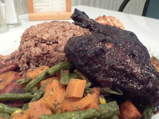 JERK  CHICKEN with HONEY  RICE and VEGETABLE SIDINGS