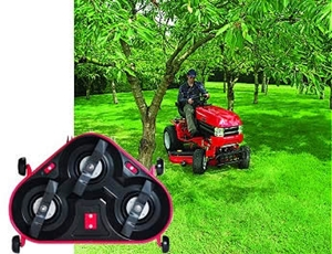 Lawn tractor with mulching deck, inset closeup shows mulching attachment.