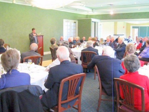 The writer presenting at a Probus Club luncheon on 28th June 2010